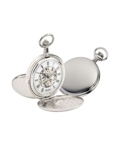Mechanical Chrome Plated Polished Full Hunter Pocket Watch With Chain